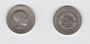 DDR Gedenk Münze 5 Mark Heinrich Hertz 1969 Stempelglanz (129802)