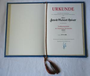DDR Urkunde Verdienstmedaille der Deutschen Reichsbahn Stufe 1 1988 (103357)