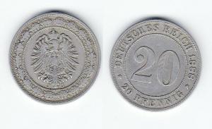 20 Pfennig Nickel Münze Kaiserreich 1888 J Jäger 6  (125361)