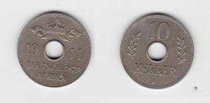 10 Heller Kupfer-Nickel Münze Deutsch Ostafrika 1911 A (115111)