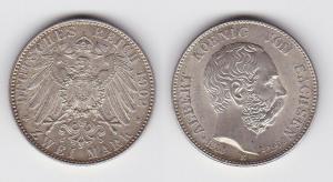 2 Mark Silbermünze Sachsen König Albert auf den Tod 1902 Jäger 128 vz (111185)