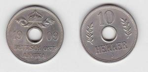 10 Heller Kupfer-Nickel Münze Deutsch Ostafrika 1909 J (117728)