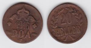 20 Heller Messing Münze Deutsch Ostafrika DOA 1916 J.727 b  (118729)