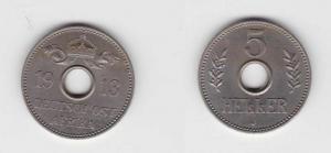 5 Heller Kupfer-Nickel Münze Deutsch Ostafrika 1913 J (113317)