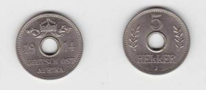 5 Heller Kupfer-Nickel Münze Deutsch Ostafrika 1914 J (117858)