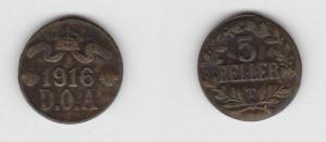 5 Heller Messing Münze Deutsch Ostafrika 1916 T (117568)