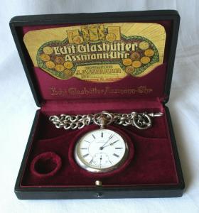 Silberne Taschenuhr J.Assmann Glashütte 935er Silber im Etui um 1910 (107187)