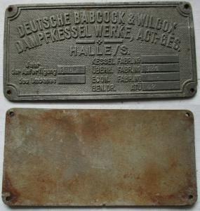 Typen Reklame Metall Plakette Dampfkessel Werke AG Halle 1968 (118830)
