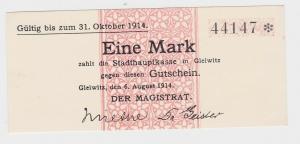 1 Mark Banknote Notgeld Stadt Gleiwitz 6.August 1914 (118074)