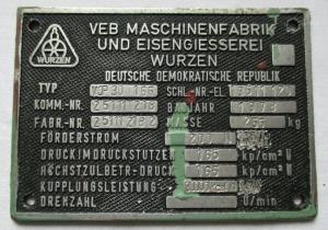 Typen Reklame Metall Plakette VEB Maschinenfabrik Wurzen 1978 (113747)