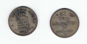 2 Neu Groschen Silber Münze Sachsen 1851 F (126653)