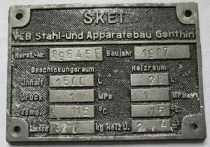 Typen Reklame Metall Plakette SKET VEB Apparatebau Genthin 1987 (112826)