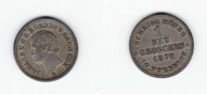 1 Neu Groschen Silber Münze Sachsen 1870 B (123900)