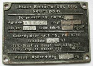 Typen Reklame Metall Plakette Behälterbau OHG Neuruppin 1970 (117936)