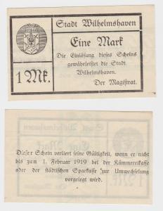 1 Mark Banknote Notgeld Stadt Wilhelmshaven um 1918 (123326)