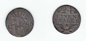 1/24 Taler Silber Münze Preussen Friedrich II 1786 A (126932)