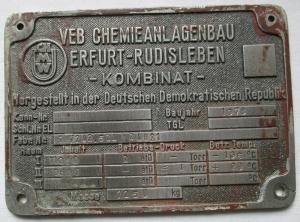 Typen Reklame Metall Plakette VEB Chemieanlagenbau Rudisleben (117503)