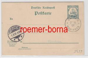 74254 seltene Ganzsachen Antwortkarte Mariannen Saipan 22.6.1901