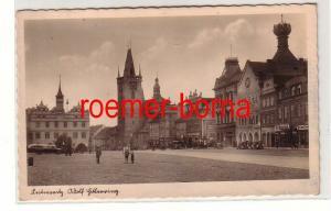 79939 Ak Leitmeritz a.E. Sudetengau Markt mit Geschäften um 1940