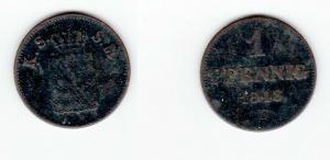 1 Pfennig Kupfer Münze Sachsen 1848 F (127098)