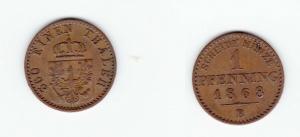 1 Pfennig Kupfer Münze Preussen 1868 B (120157)