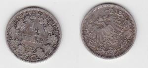1/2 Mark Silber Münze Deutsches Reich 1908 G  (130113)