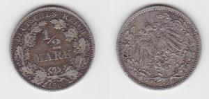 1/2 Mark Silber Münze Deutsches Reich 1908 D  (130135)