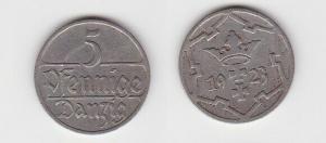 5 Pfennig Kupfer Nickel Münze Danzig 1923 Jäger D 5 (130131)