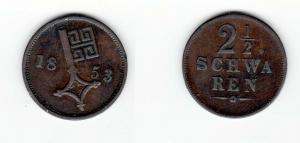 2 1/2 Schwaren Bronze Münze Stadt Bremen 1853 (128259)