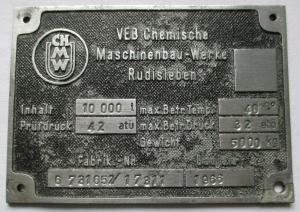 Typen Reklame Metall Plakette VEB Maschinenbau Werke Rudisleben (111723)