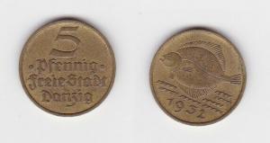 5 Pfennig Messing Münze Danzig 1932 Flunder (130779)
