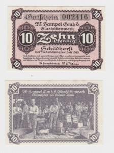 10 Pf. Banknote Notgeld w.Hampel GmbH Glashüttenwerk Schildhorst 1920  (119846)