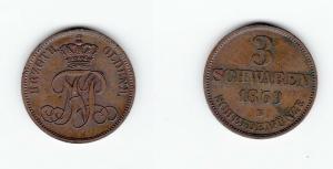 3 Schwaren Kupfer Münze Oldenburg Nicolaus Friedrich Peter 1869 B (127463)