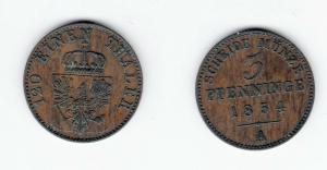 3 Pfennig Kupfer Münze Preussen 1854 A (124188)