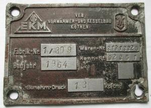Typen Reklame Metall Plakette VEB Kesselbau Köthen 1964 (117201)