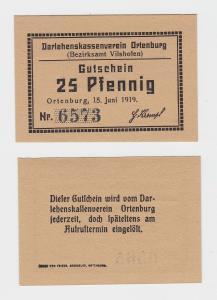 25 Pf. Banknoten Notgeld Darlehenskassenverein Ortenburg 15.06.1919  (118565)