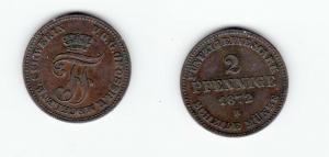 2 Pfennig Kupfer Münze Mecklenburg-Schwerin 1872 B (122673)
