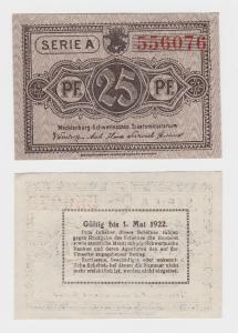 25 Pf. Banknoten Notgeld Mecklenburg Schwerinsches Staatsministerium  (119701)