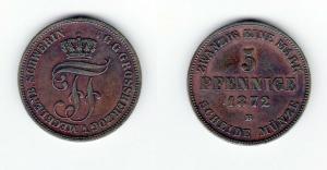 5 Pfennig Kupfer Münze Mecklenburg-Schwerin 1872 B (129560)