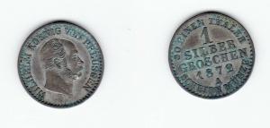 1 Silbergroschen Münze Preussen Wilhelm I. 1872 A (123679)
