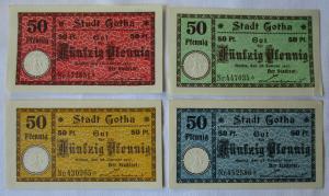 4 x 50 Pfennig Banknoten Gotha 20.Westhüringer Gauturnfest Gotha 2-4.Juli 1921