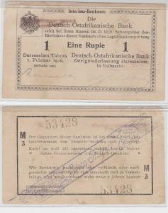1 Rupie Banknote Deutsch Ostafrikanische Bank 1.2.1916 (116558)