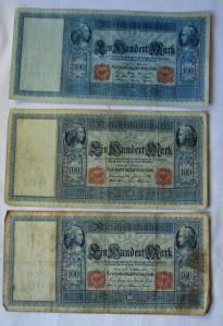 3 verschiedene Banknoten Deutsches Reich 100 Mark 1908, 1909, 1910 (126076)