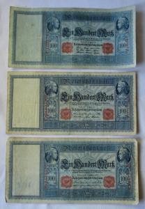 3 verschiedene Banknoten Deutsches Reich 100 Mark 1908, 1909, 1910 (124165)