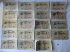 19 verschiedene Banknoten Deutsches Reich 1000 Mark 1910 (121348)