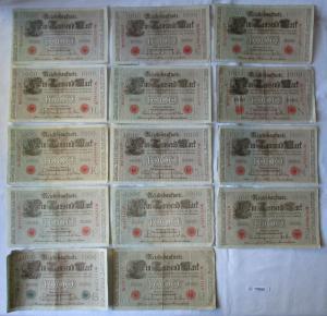 14 verschiedene Banknoten Deutsches Reich 1000 Mark 1910 (125919)