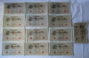 13 verschiedene Banknoten Deutsches Reich 1000 Mark 1910 (125317)