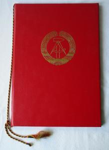DDR Urkunde in Original Urkundenmappe Verdienter Eisenbahner 1985 (122029)
