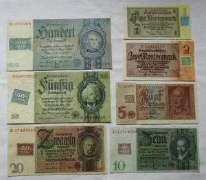 Satz DDR mit 7 Banknoten 1 - 100 Mark 1948 Kuponausgabe KASSENFRISCH ! (110572)
