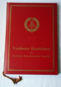 DDR Urkunde in Original Urkundenmappe Verdienter Eisenbahner 1969 (126029)